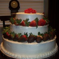 3-Tier Chocolate Covered Strawberry 3 tier whipped buttercream with chocolate covered strawberries.