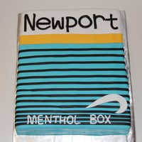 Newport Cake Ok this was a first. They wanted the cake to look like a pack of newport cigarettes. Red velvet covered in fondant. TFL