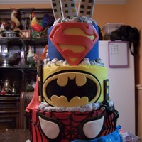 Superheros 3 tier buttercream with fondant accents