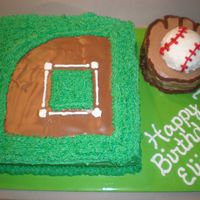 Baseball Field, Glove And Ball Baseball field with glove and ball cake. Also made 2 dozen baseball cupcakes to go with this one.
