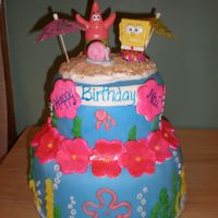 Spongebob Luau Cake Fondant covered Spongebob luau cake