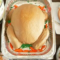 Turkey Cake my first attempt at a turkey cake for thanksgiving! i used marshmallow fondant for the carrots and peas. thanks everyone for the...