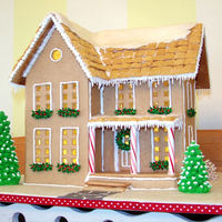 "Farmhouse This is my first gingerbread house and I made for the centerpiece at my church dessert fundraiser. Except for the cotton ball ""smoke&..."