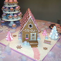 Pink Gingerbread House This was made as a centerpeice for a Pink Winter Wonderland themed baby shower. The house is edible. I wanted the mama to be to be able to...