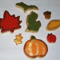 Fall Cookies These are Pennie recipe cutouts with rolled Buttercream Fondant. Wanted to use up my Michigan cookie cutters...TFL