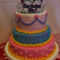 Princess Birthday Cake WASC cake with buttercream and store bought crown. For a 3rd bday.