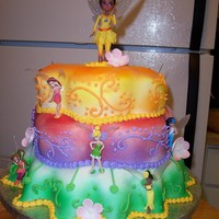 Fairy Princess Extravaganza!   fondant covered cake with toy faries