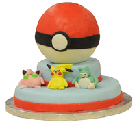 Pokemon Poke ball is made of Styrofoam covered in MM fondant. Characters are made from MM fondant also.