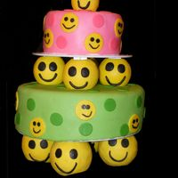 Piles Of Smiles I copied this from the Wilton website. My second attempt in doing tiered cakes. It is a pound cake with marshmallow fondant.