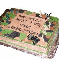Army National Guard Going Away cake was a 11x15 sheet cake made with BC icing.