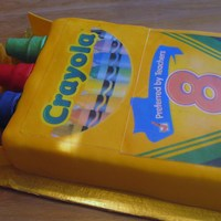 Crayola Crayon Cake key lime pound cake, key lime buttercream covered in MFF. Cake was done for my daughter's school's teacher appreciation lunch....