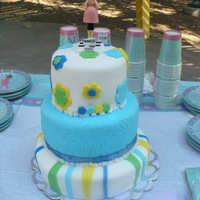 Mom To Be! white cake with pinaple filing, cover with fondant,decorations too, wilton figurin.