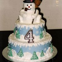 "Frosty The Snowman 10"" & 6"" tiers, snowman made with small stand-up bear pan with ears trimmed off, all buttercream except for fondant hat,..."