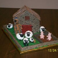 Shaun The Sheep Figures are made from fondant and royal icing, stonework is piped in buttercream. My personal favorite is Timmy, with his teddy and...