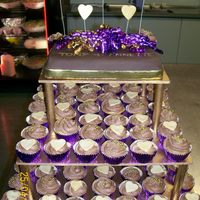 Purple/gold Cupcake Cake This was for my brother in-laws engagement party. The color scheme was purple and gold. And it was for about 200 people. This went down...