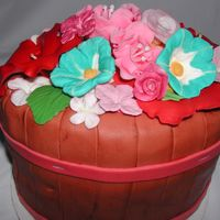 Flower Basket Various gumpaste, royal icing flowers in a 'basket' friends birthday.