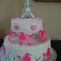 Pink Poodles In Paris Made for first birthday party. Eiffel tower, poodles and hearts made from pastillage.