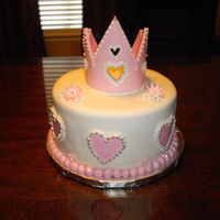 Princess Crown Cake Gumpaste Crown with white icing and dragee accents.