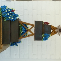 Texas Cake   Windmill cake with gumpaste bluebonnets.