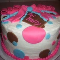 Brown/pink/blue Polka Dot Cake I was asked to make this cake for a co-worker. She wanted polka dots with a present. I think it turned out great on my first bow I made for...