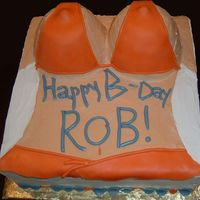 Hooters Birthday Cake Marshmallow fondant top and skirt colored especially for a man's birthday party at Hooters Restaurant. I used gum drops for the...