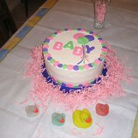 Baby Baloons Baby shower cake using marshmallow fondant for decorations.