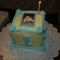 Baby's 1St Birthday son of a friends 1st birthday cake. with rice paper photo