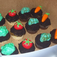 Farmer Brown Vegetable Cupcakes   For that special person with a green thumb.