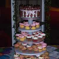 100_1816.jpg Candy Barrel cake with cupcake tower