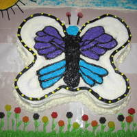 Butterfly vanilla cake, buttercream, candies and sugars. Made for a special lady.