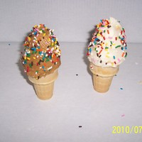 Ice Cream Cone Cupcake Cupcake, mini cupcake, butercream, & m& m's in bottom for weight