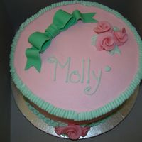 Molly's Cake Yellow cake with BC. Fondant bow, Duff roses. TFL!