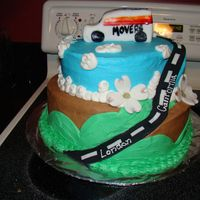 Moving Away This is a cake I made for friends who were moving. WASC cake with BC. Road is fondant, as is covering on truck. I didn't leave myself...