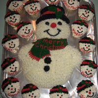 Frosty And His Little Friends This cake I made for my son's Christmas concert, the children loved it! all iced with bc