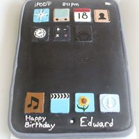 Ipod Touch Chocolate chip cake with fondant decorations for my nephew's 12th birthday.