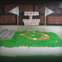 Jeffrey's Baseball Cake Chocolate cake with buttercream icing and fondant decorations.