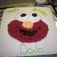 Elmo Cake This was a cake that was baked, iced and decorated within 2 1/2 hours. my sister asked me for it 3 months before and then said nothing...