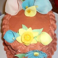 Calla Lily Cake basketweave cake with gum paste calla lillies and daisies