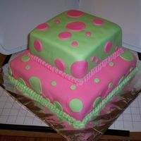 My Sisters B-Day Cake chocolate and strawberry cakes covered in MMF with MF polka dots