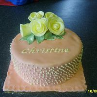 Rose Cake Fondant covered vanilla and lemon sponge - put together at the last minute first attempt at gumpaste roses.