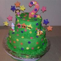 "Dora Tiers 9 and 6"" round, frosted in buttercream. Fondant decorations."