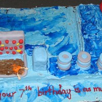 Wipeout Cake 1/4 sheet cake, cut in 1/2. RKT sucker punch, stairs, ramp and big balls. Decorations in fondant. Made this cake for my son's birthday...