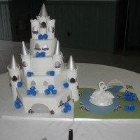 "Castle & Swan  Castle for wedding. Bride loves swans and wanted the swan topper with the castle so i made a small ""swan lake"" for her. 15 &..."