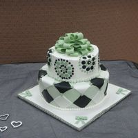 Green & Black Bridal Shower   Bridal shower cake. Buttercream base with fondant accents.
