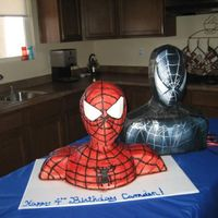 "The Infamous Spider Man Bust Cake! This is not an original and huge kudos to the blogger that gave such great instructions on how to do this! Just google ""Spiderman bust..."