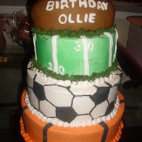 All Sports Cake CAKE MADE ALL IN BUTTERCREAM, FOOTBALL IN FONDANT