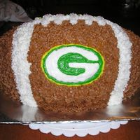 Green Bay Football Wilton football pan x2 to make 3D then added Green Bay Packers logo