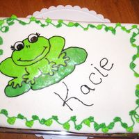 Kacie's Frog Cake 1/4 sheet with FBCT frog and vine/leaf border. I am very pleased with houw the border came out.