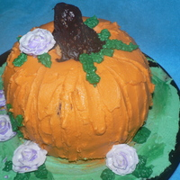 My First Pumpkin My first 3D pumpkin. I used the Bundt Halloween Pans from Target. All buttercream except for stem. Stem is RKT with choc ganache on top....