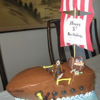 Pirate Birthday Cakee  This is my first attempt at making a 3D pirate ship cake. I originally wanted to cover it in MMF, but it fell off. So this is made with BC...